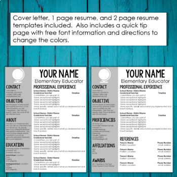 Editable Teacher Resume Template and Cover Letter Template ...