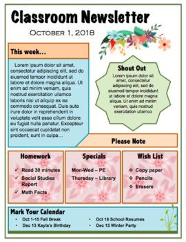 Editable, Reusable Classroom Newsletter Template Floral Edition