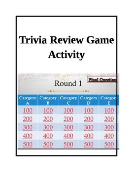 Trivia Review Game modeled after Jeopardy with hyperlinks completely editable