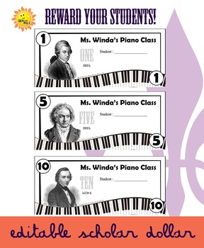 Editable Reward Dollars - Piano/Composer Theme