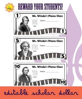 Editable Reward Dollars - Piano/Composer Theme