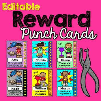 Editable Behavior Punch Cards A Reward System By Miss Rainbow Education