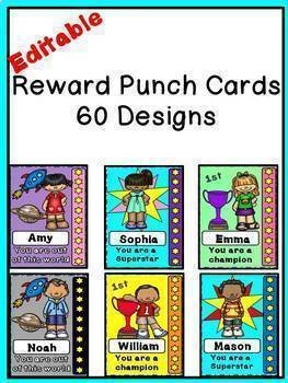 Editable Behavior Punch Cards (A Reward System)