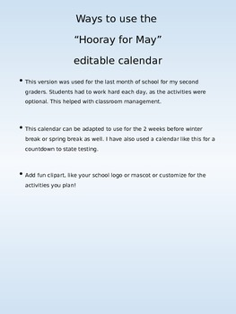 Editable Reward or Activity Calendar