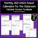 Editable Robot Monthly Calendars