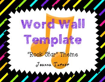 Editable Rock Star Themed Word Wall Template