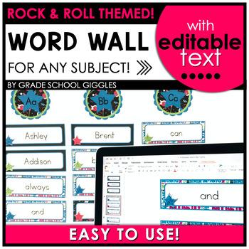 Editable Rock and Roll Theme Word Wall