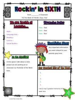 Editable Rockstar Themed Newsletter for K-6