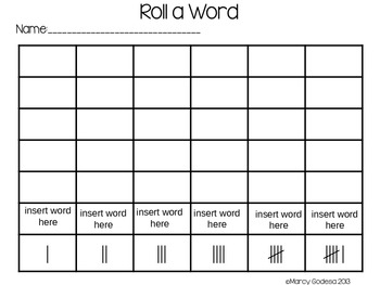 Editable Roll a Word