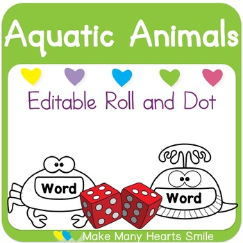 Editable Roll and Dot: Aquatic Animals