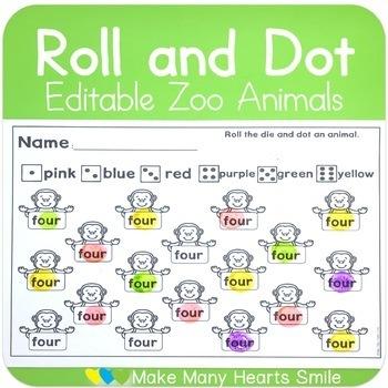 Editable Roll and Dot: Zoo Animals