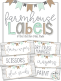 Editable Rectangular Rustic Farmhouse Classroom Labels
