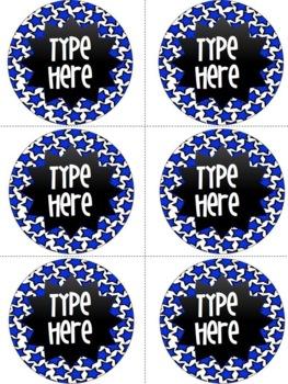 Editable Royal Blue Star Round Labels