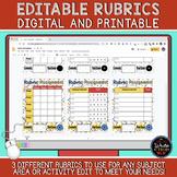 Editable Rubric Templates: Digital and Printable