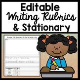 Editable Rubric Templates {Editable Writing Rubric with 3 or 4 Editable Goals}