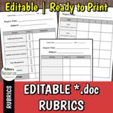 Editable Rubrics Set