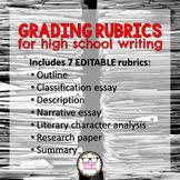 Editable Rubrics for Grading High School Writing Growing Bundle