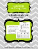 Editable Rubrics - primary, independent reading and intermediate