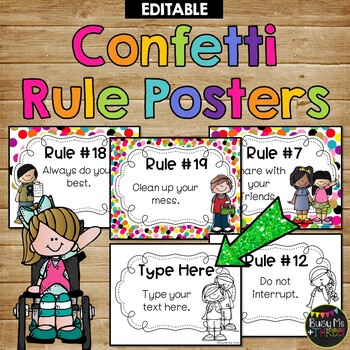 Editable Rule Posters RAINBOW CONFETTI Melonheadz Edition, Rules
