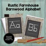 Editable Rustic Farmhouse Barnwood Chalkboard Alphabet Posters