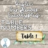 Rustic Watercolor Eucalyptus Table Numbers