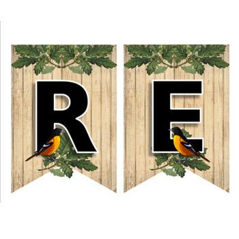 Editable Rustic Farmhouse Decor Banners - Foliage and Birds