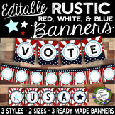 Editable Patriotic Red White and Blue Banners
