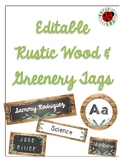 Editable Rustic Wood and Greenery Name Plates, Name Tags, Labels