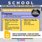 Editable SCHOOL Owl Morning Work GOOGLE SLIDES Templates