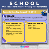 Editable SCHOOL Owl Themed Morning Work PowerPoint Templates