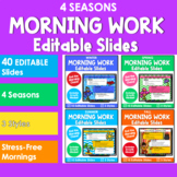 Editable SEASONAL Themed Morning Work PowerPoint Templates