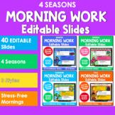 Editable SEASONAL Themed Morning Work PowerPoint Templates