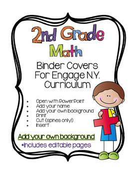 Editable SECOND Grade Math Engage New York Binder Covers -