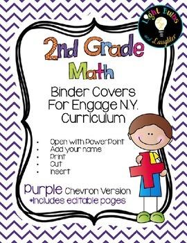 Editable SECOND Grade Math Engage New York Binder Covers - Purple Chevron