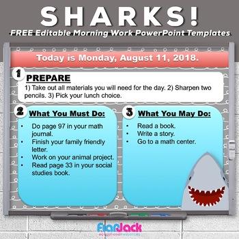 Editable SHARK Themed Morning Work PowerPoint Templates FREEBIE