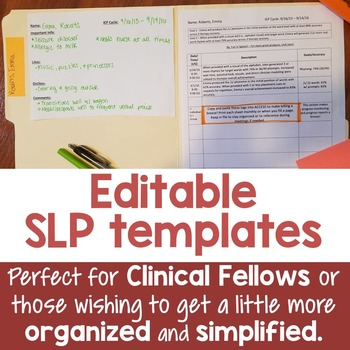 Editable SLP Templates to Keep You Organized - Great for C