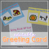 Editable SPED Greeting Card for Spring Break