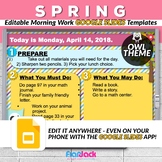 Editable SPRING EASTER Owl Morning Work GOOGLE SLIDES Templates
