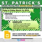 Editable ST. PATRICK'S DAY Morning Work GOOGLE SLIDES Templates