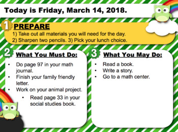 Editable ST. PATRICK'S DAY Owl Themed Morning Work PowerPoint Templates