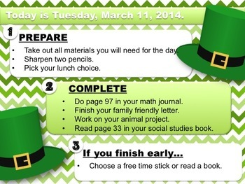 Editable ST. PATRICK'S DAY Themed Morning Work PowerPoint Templates