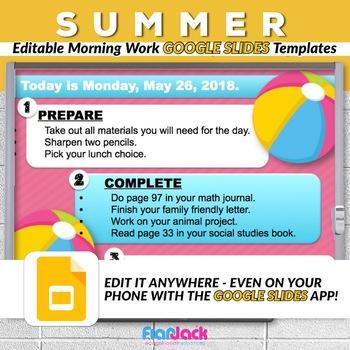 Editable SUMMER Morning Work GOOGLE SLIDES Templates