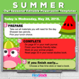 Editable SUMMER Owl Themed Morning Work PowerPoint Templates