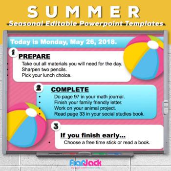 Editable SUMMER Themed Morning Work PowerPoint Templates