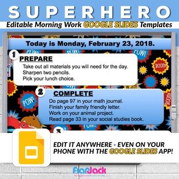 editable superhero google slides templates by flapjack educational