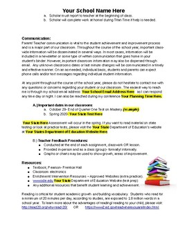 Editable SYLLABUS for ELA School Teachers!  Sample Language Arts 7th Gr.Included