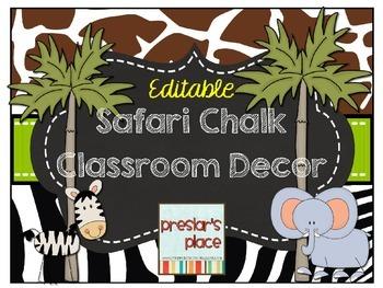 Editable Safari Chalk Classroom Decor
