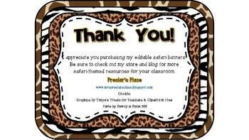Editable Safari-Themed Banners