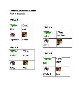 Editable Safari-Themed Seating Chart