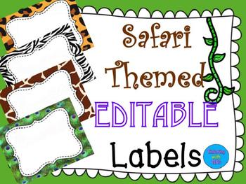 Jungle / Safari Themed Classroom - EDITABLE Supply Labels